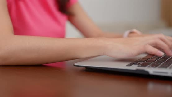 Thumbnail for Woman type on the laptop computer