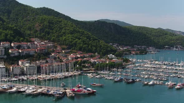 Thumbnail for Mountains Sea Boats And Marina Aerial View