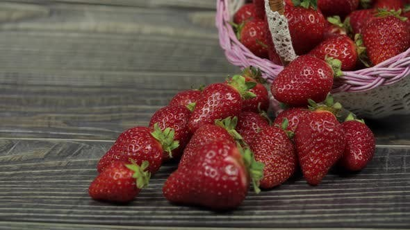 Thumbnail for Strawberries in a Small Basket on the Wooden Table