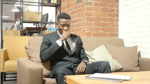 Coughing, Sick Black Businessman