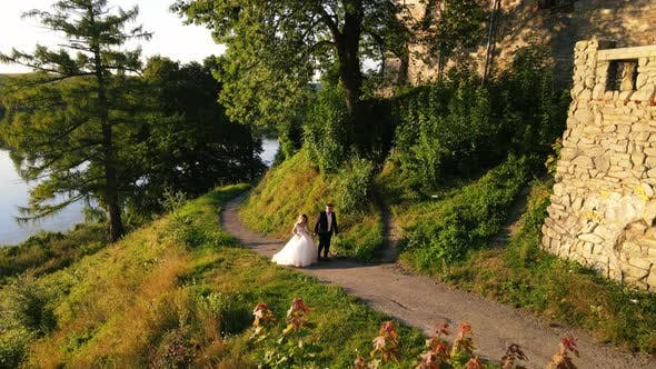 Newlyweds Holding Hands Walking in a Green Park Near the Ancient Castle and Lake