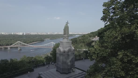 Thumbnail for Kyiv, Ukraine: Monument To Volodymyr the Great. Aerial View, Flat, Gray