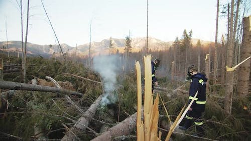 Firefighters With Oxigen Masks In Calamity Forest Area