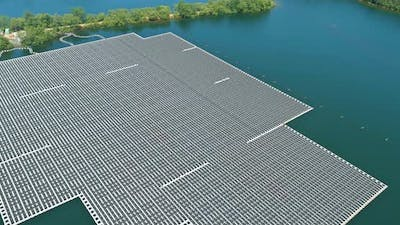Ecological Energy Renewable of Solar Power Station Float on Water Pond the Electric Power