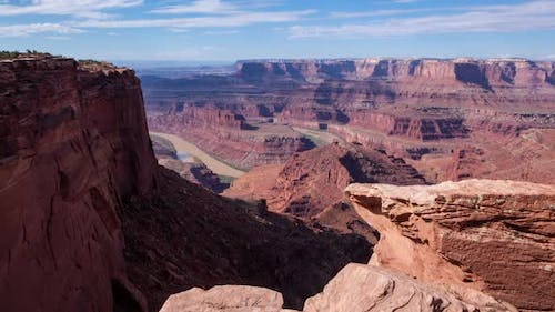 Timelapse on slider looking over Dead Horse Point canyonlands in Moab, Utah