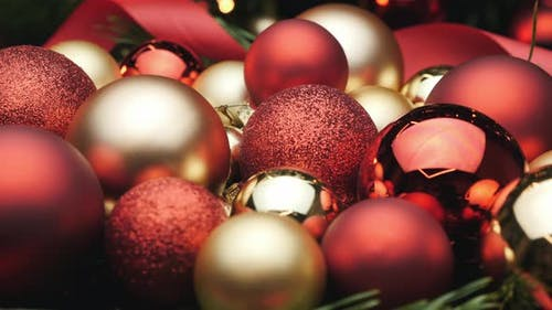 Colorful Christmas decoration. Christmas red and golden balls.