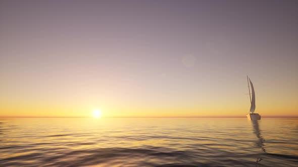 Sailboat in the Ocean Yacht Sunrise Sea Surface