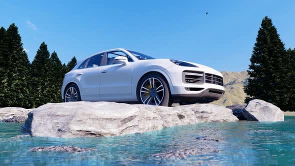 Thumbnail for White Luxury Off-Road Vehicle Standing on Rocks in the Daytime