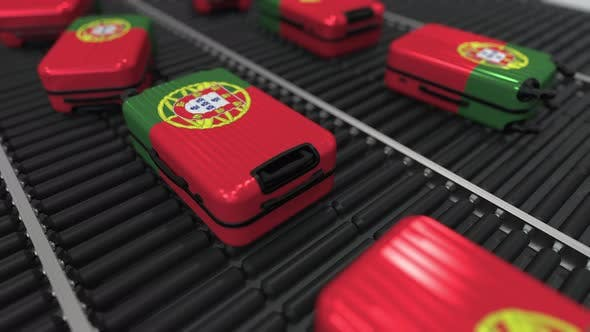 Thumbnail for Many Suitcases Featuring Flag of Portugal on Conveyer