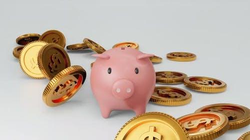 Piggy bank with falling coin as money savings concept
