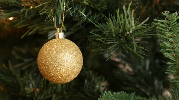 Thumbnail for Glitering gold bauble hanged on the branch  4K 2160p 30fps UltraHD footage - Sparkling gold color or