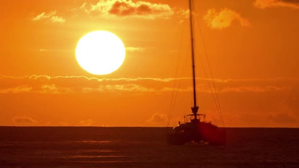Thumbnail for Sunset Time-Lapse Ocean Sailboat