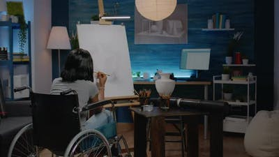 Black Woman with Disability Drawing Vase on Canvas