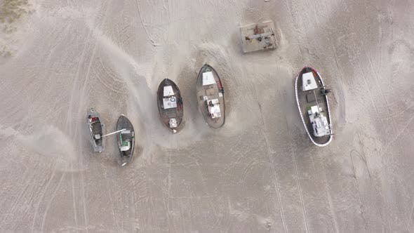 Old Fishing Boats Ashore on Thorup Strand Beach in Denmark