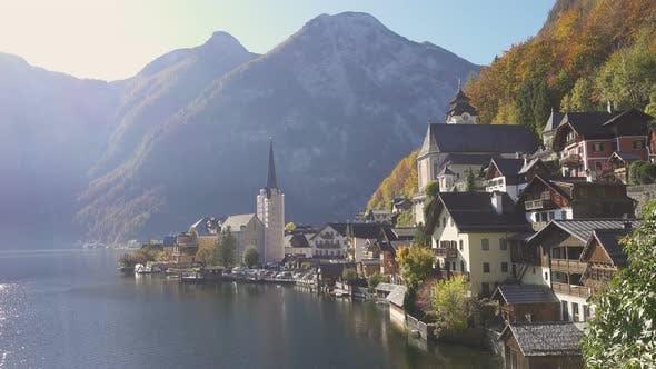 View Of Beautiful Austrian Mountains Village Hallstatt 8