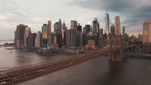 Beautiful Brooklyn bridge across Hudson river