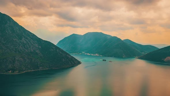 Adriatic Sea, Boka Kotor Bay, the Movement of Clouds Over the Mountains in Montenegro Timelapse