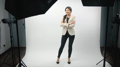 Business Woman Posing in Photo Studio