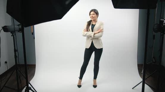 Business Woman Posing in Photo Studio