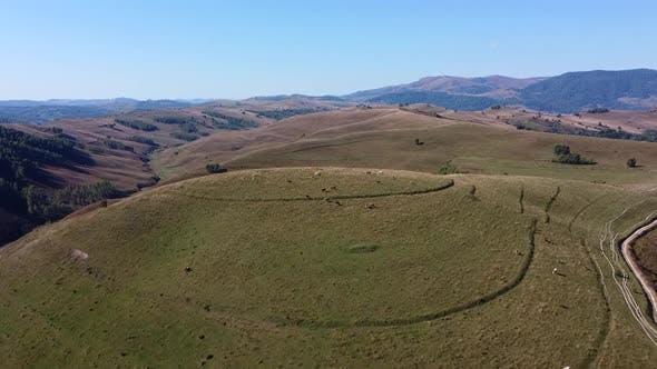 Picturesque Hills In Apuseni Mountains Aerial View, Romania