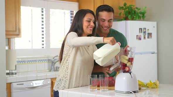 Thumbnail for Mexican couple blending smoothies