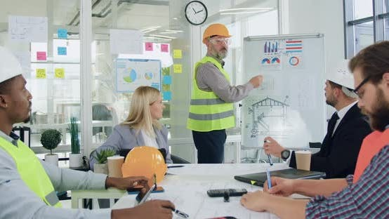 Diverse Team of Engineers and Managers of Building Company Clapping Hands
