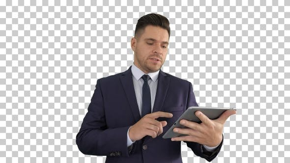 Thumbnail for Businessman presenting from the tablet, Alpha Channel