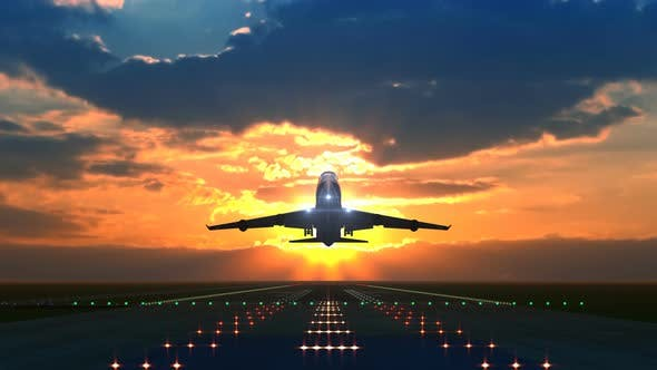 Cover Image for Airplane Taking off Against Scenic Sunset