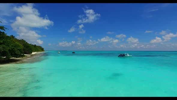Thumbnail for Aerial flying over tourism of beautiful seashore beach adventure by aqua blue ocean with white sand