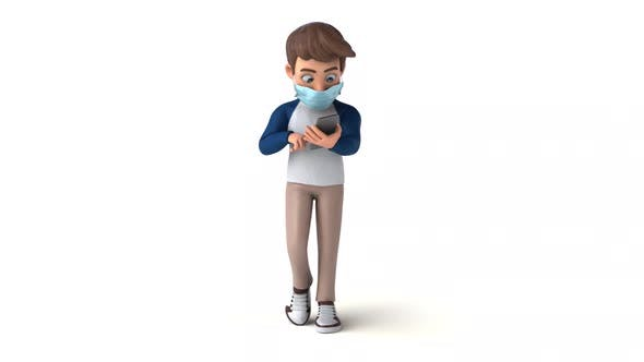 Fun 3D cartoon kid with a mask on the phone