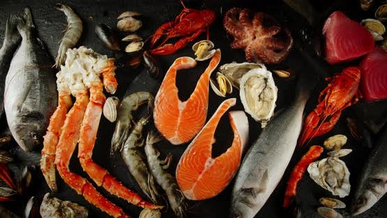Thumbnail for Fresh Seafood on the Table Slowly Rotates.