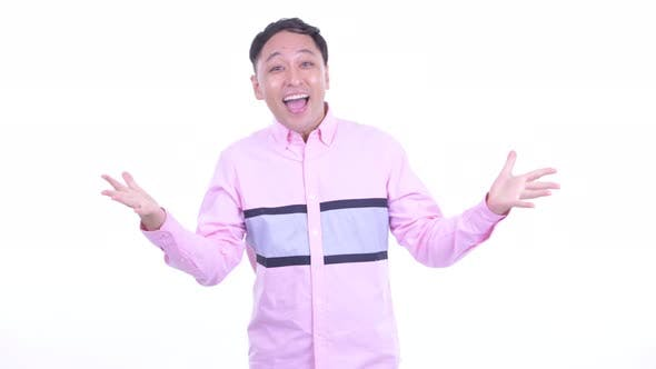 Thumbnail for Happy Japanese Businessman with Surprise Gesture