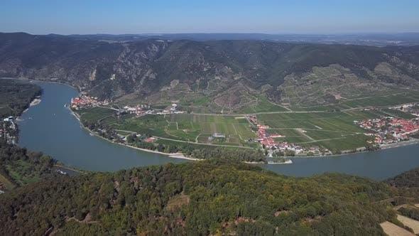 Aerial of Wachau Valley, Austria