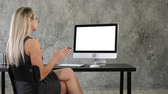 Cover Image for Video Call Conference Chatting Communication Concept. Lady