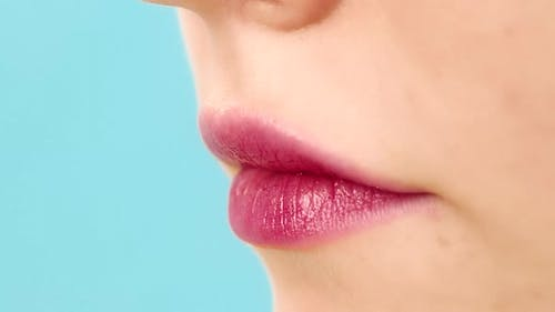 Woman Lips with Red Lipstick