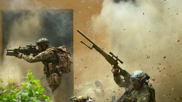 Thumbnail for Soldiers after explosion, slow motion