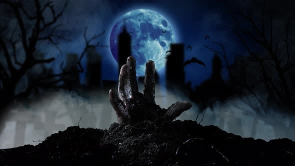 Thumbnail for From the Grave Slowly Emerging Human Hand in the Background Cemetery and Moon, Smoky Background