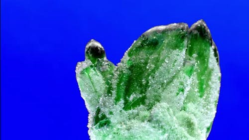 Raw Emerald and Gemstone Rough Rock Crystal on Blue Background