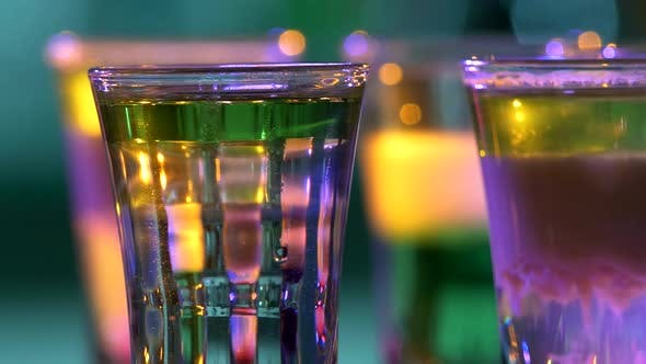 Cover Image for Different Delicious Cocktails, Rotation, Shots, Close Up