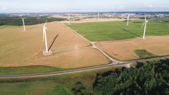 Thumbnail for Wind Power Station. Aerial View. Wonderful Landscape Shot