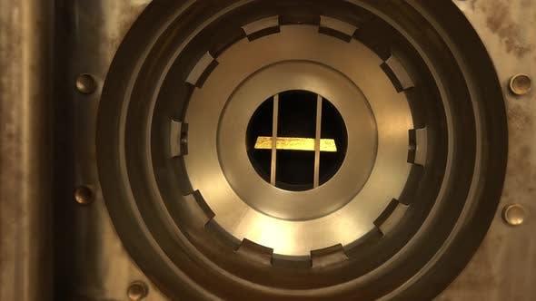 Gold Bar in Bank Vault
