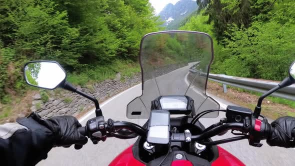 Thumbnail for Motorcyclist on Motorbike Rides on a Beautiful Landscape Mountain Road in Italy