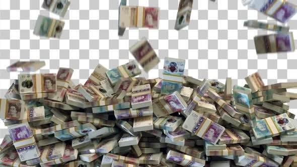 Thumbnail for Money Falling / Stacked Pound Bills Falling - 4K