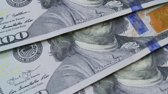 Makro Viele 100amerikanische Dollarscheine