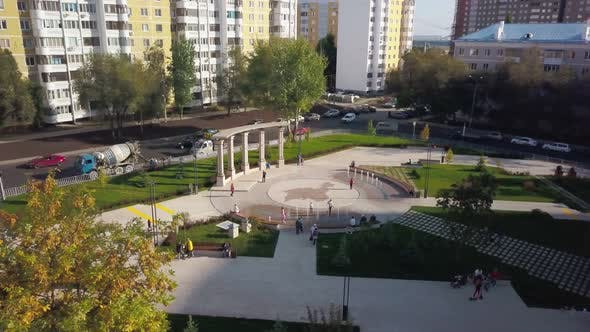 Thumbnail for Aerial View of Modern Park Area with Fountains in City in Fall Day in Summer Weather