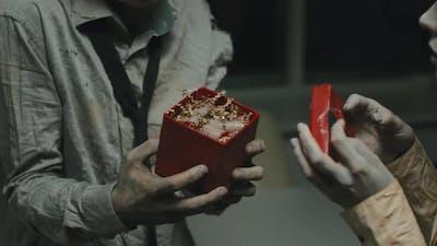 Zombie Boyfriend Gifting Present to Zombie Girlfriend