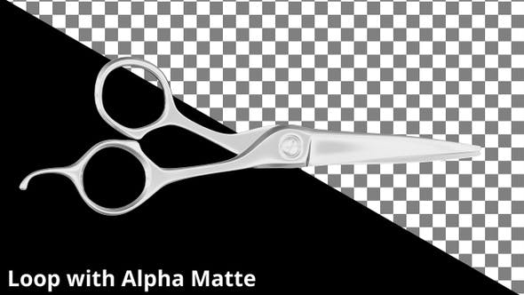 Floating Barbers Scissors on Black with Alpha Matte