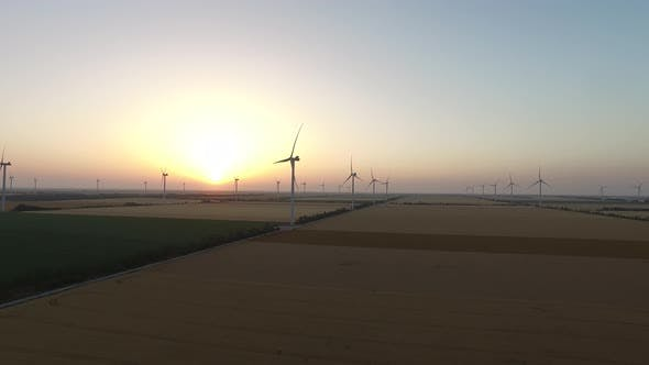 Thumbnail for Wind Pinwheels Renewable Sources of Wind Energy in the Beautiful Landscape at Sunset. Aerial Survey