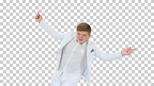 Boy in white suit dancing, Alpha Channel