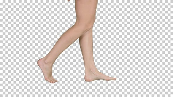 Beautiful Female Barefoot Walk, Alpha Channel